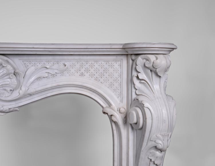 Beautiful antique Louis XV style fireplace with opulent decor in white Carrara marble-8