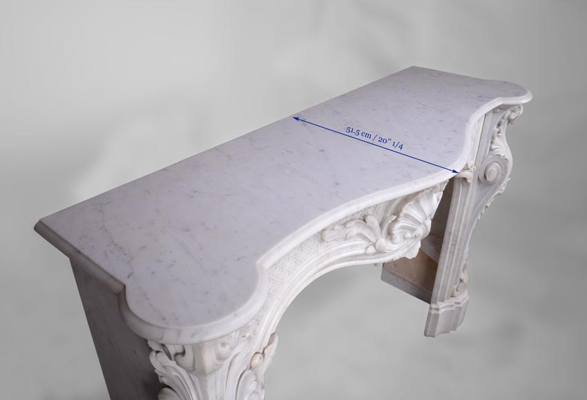 Beautiful antique Louis XV style fireplace with opulent decor in white Carrara marble-12