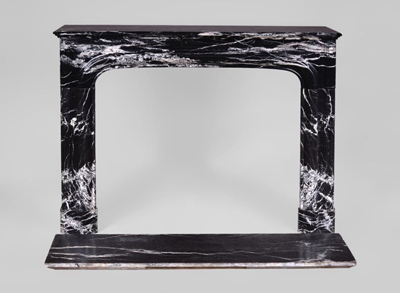 "Antique Louis XIV style fireplace with ""Bollection"" in Black Marquina marble - Reference 3133"
