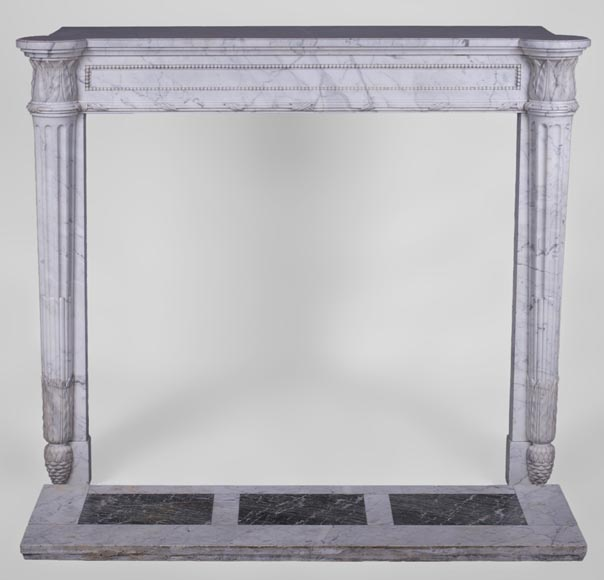 Rare antique Louis XVI style fireplace with half-columns and pine cones in veined Carrara marble-0