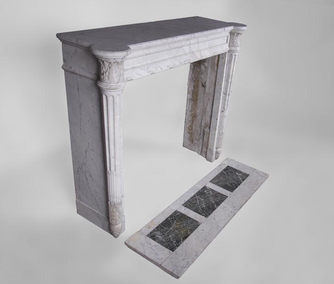 Rare antique Louis XVI style fireplace with half-columns and pine cones in veined Carrara marble-2