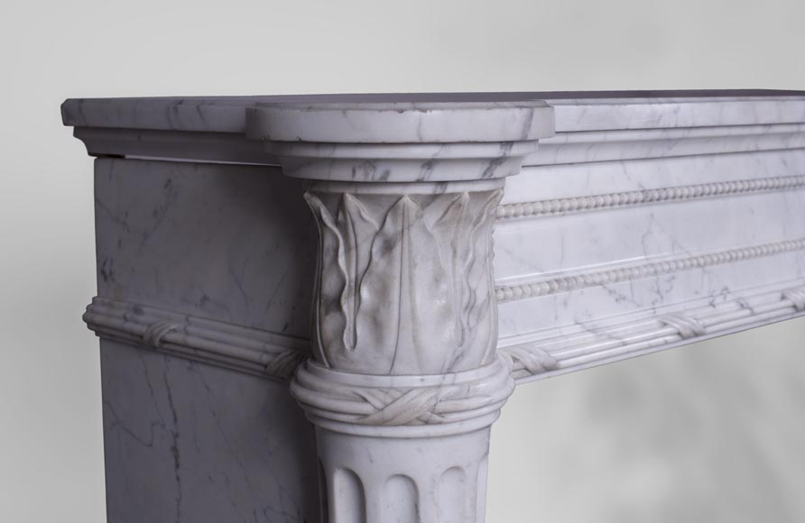 Rare antique Louis XVI style fireplace with half-columns and pine cones in veined Carrara marble-3