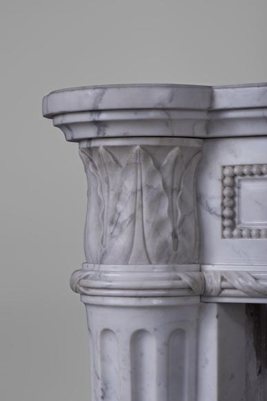 Rare antique Louis XVI style fireplace with half-columns and pine cones in veined Carrara marble-4