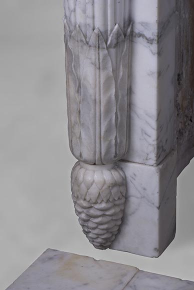 Rare antique Louis XVI style fireplace with half-columns and pine cones in veined Carrara marble-6