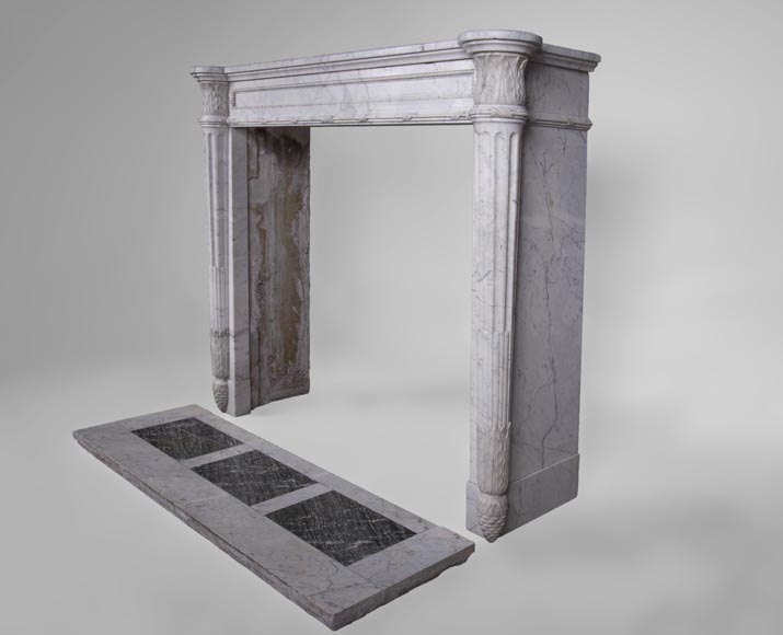 Rare antique Louis XVI style fireplace with half-columns and pine cones in veined Carrara marble-7