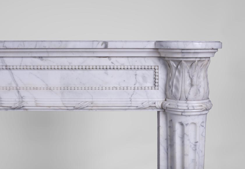 Rare antique Louis XVI style fireplace with half-columns and pine cones in veined Carrara marble-8