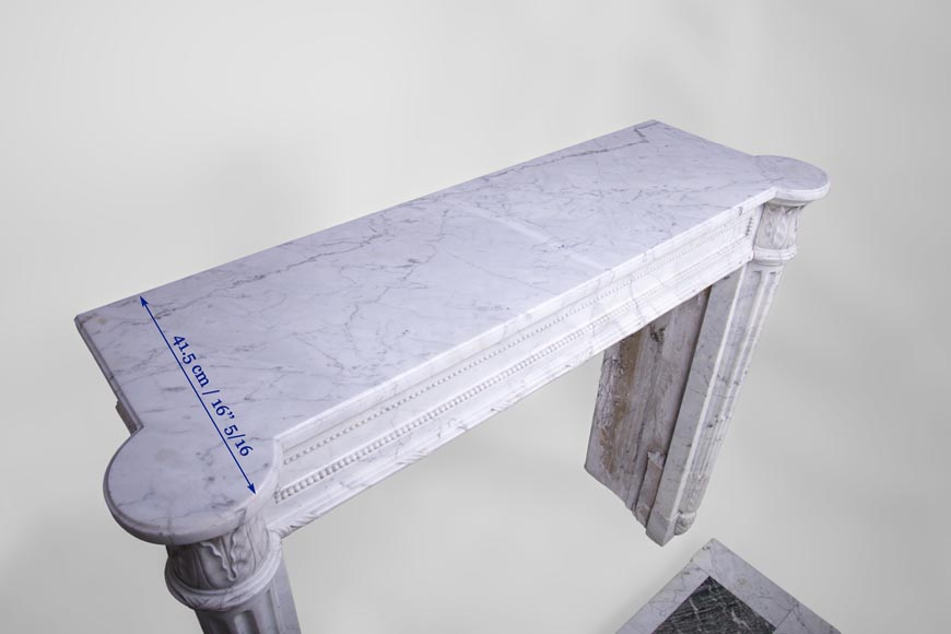 Rare antique Louis XVI style fireplace with half-columns and pine cones in veined Carrara marble-11