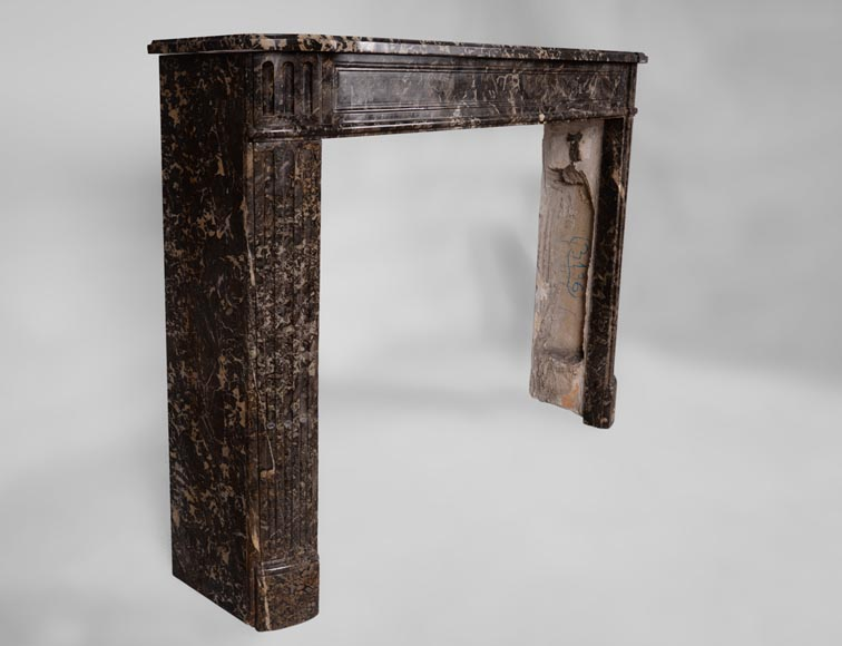 Small antique Louis XVI period fireplace in Grey Saint Anne marble with rounded corners-2