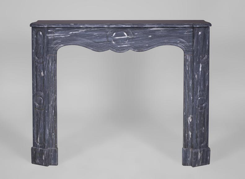 Small antique Pompadour style fireplace mantel in Blue Turquin marble, 19th c. - Reference 3137