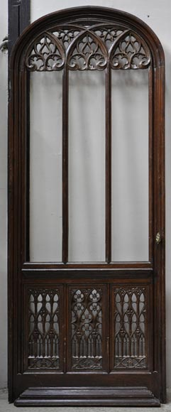 Beautiful antique Neo-Gothic style carved oak door, 19th century-0