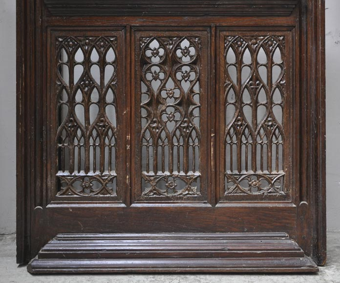Beautiful antique Neo-Gothic style carved oak door, 19th century-3