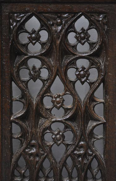 Beautiful antique Neo-Gothic style carved oak door, 19th century-4