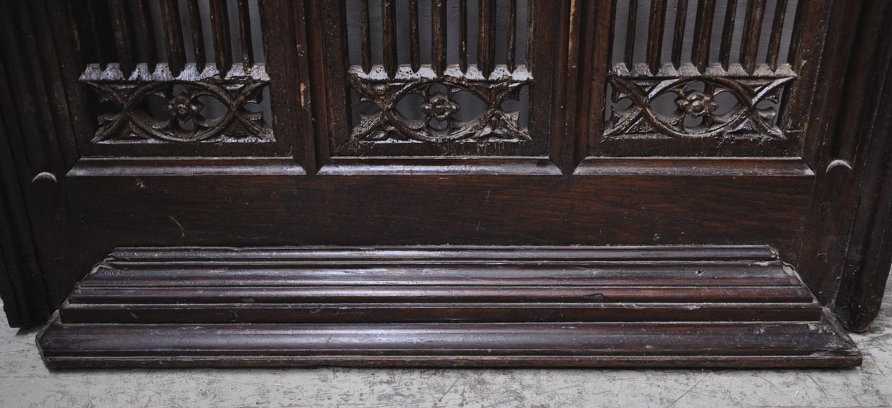 Beautiful antique Neo-Gothic style carved oak door, 19th century-6