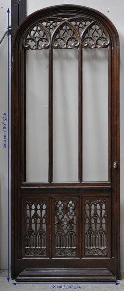 Beautiful antique Neo-Gothic style carved oak door, 19th century-9