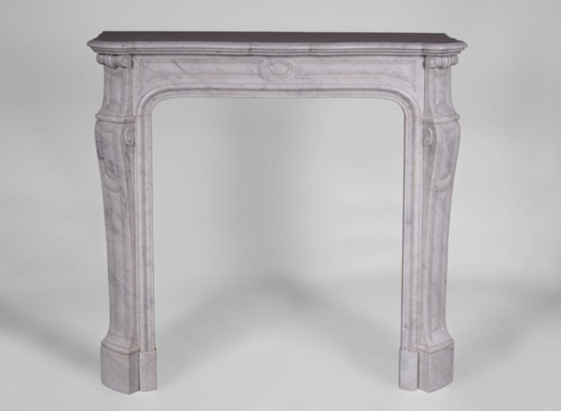 Antique Louis XV style fireplace, Pompadour model, in Carrara marble  - Reference 3141