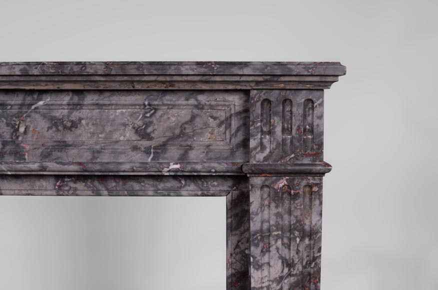 Antique Louis XVI style fireplace with flutings in Bois Jourdan marble-6