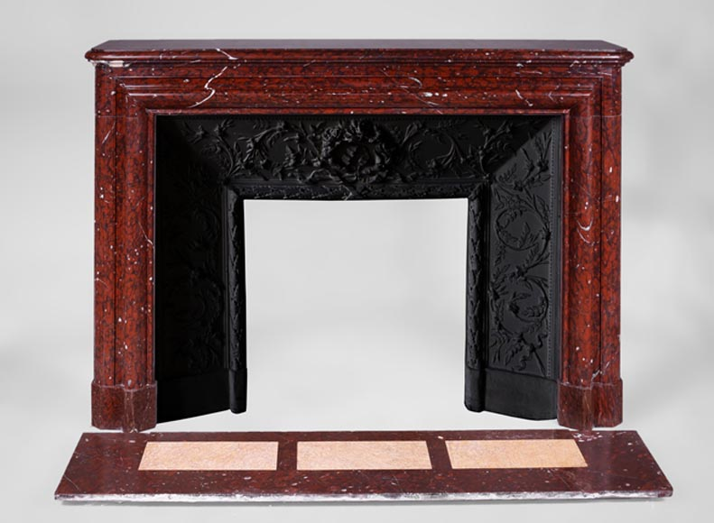 Antique Louis XIV style fireplace in Red Griotte marble with its cast iron insert-0