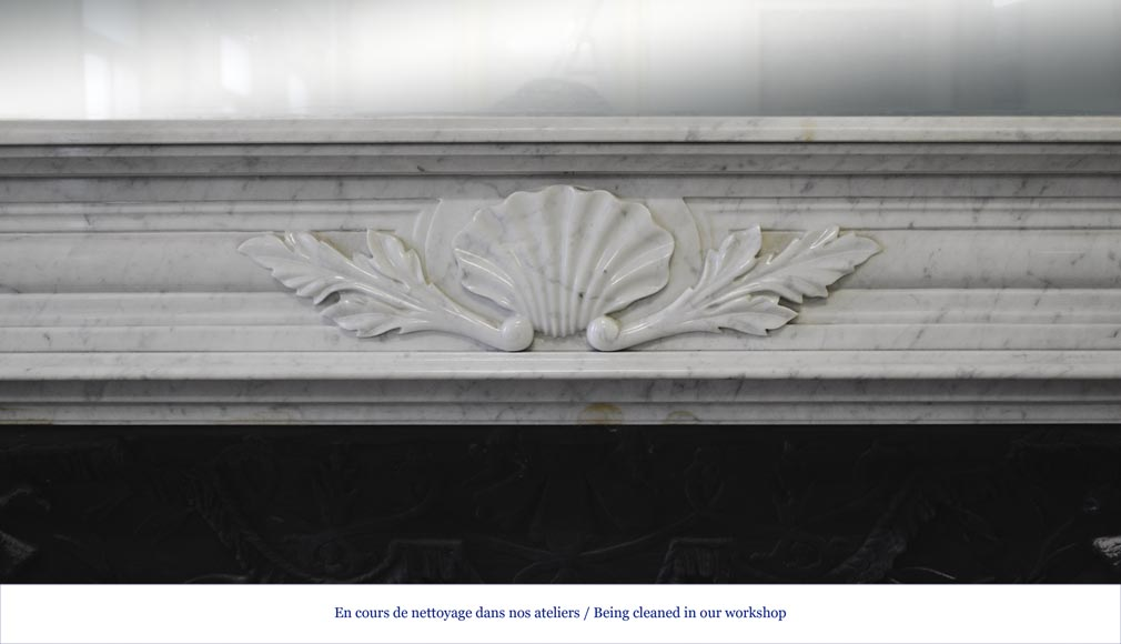 Large Louis XVI style fireplace in white Carrara marble with its cast iron insert and its overmantel mirror-2