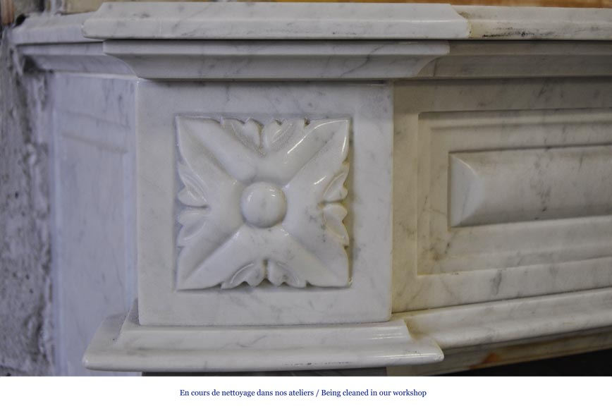 Large Louis XVI style fireplace in white Carrara marble with its cast iron insert and its overmantel mirror-4