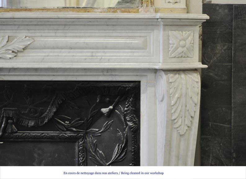 Large Louis XVI style fireplace in white Carrara marble with its cast iron insert and its overmantel mirror-8