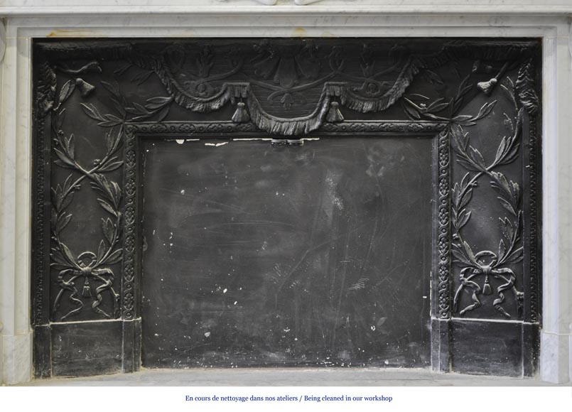 Large Louis XVI style fireplace in white Carrara marble with its cast iron insert and its overmantel mirror-10