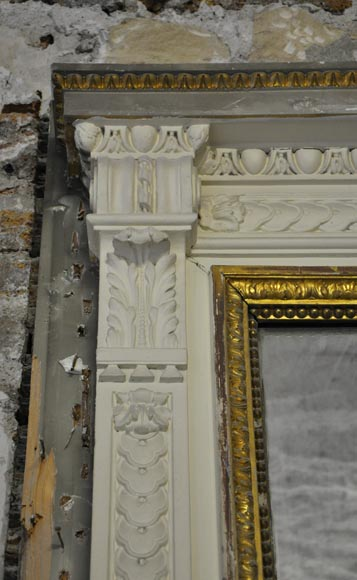 Large Louis XVI style fireplace in white Carrara marble with its cast iron insert and its overmantel mirror-14