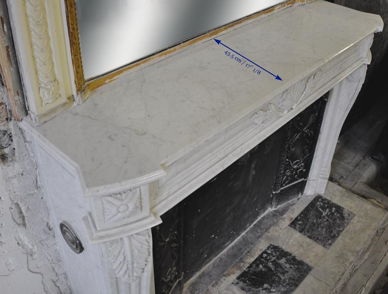 Large Louis XVI style fireplace in white Carrara marble with its cast iron insert and its overmantel mirror-17
