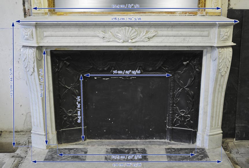 Large Louis XVI style fireplace in white Carrara marble with its cast iron insert and its overmantel mirror-18