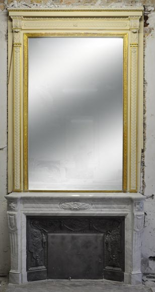 Large Louis XVI style fireplace in white Carrara marble with its cast iron insert and its overmantel mirror-0