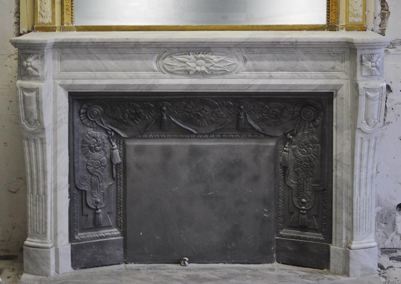 Large Louis XVI style fireplace in white Carrara marble with its cast iron insert and its overmantel mirror-1
