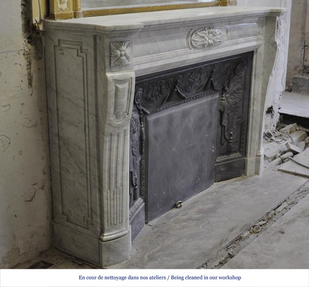 Large Louis XVI style fireplace in white Carrara marble with its cast iron insert and its overmantel mirror-3