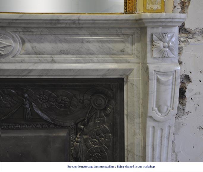 Large Louis XVI style fireplace in white Carrara marble with its cast iron insert and its overmantel mirror-7