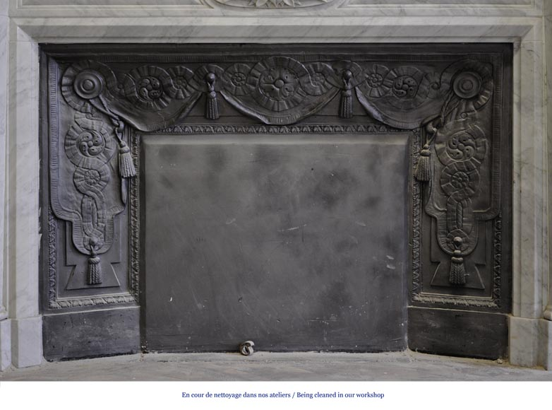 Large Louis XVI style fireplace in white Carrara marble with its cast iron insert and its overmantel mirror-9