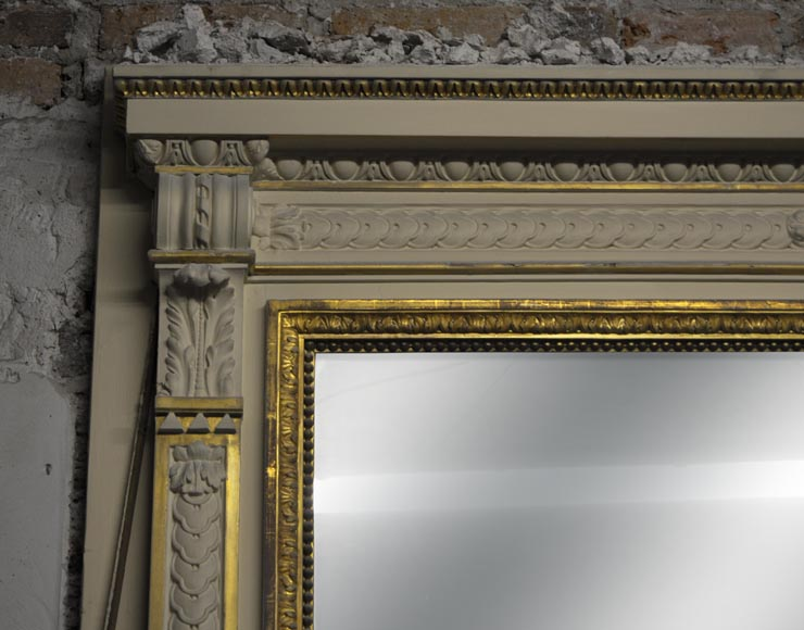 Large Louis XVI style fireplace in white Carrara marble with its cast iron insert and its overmantel mirror-13