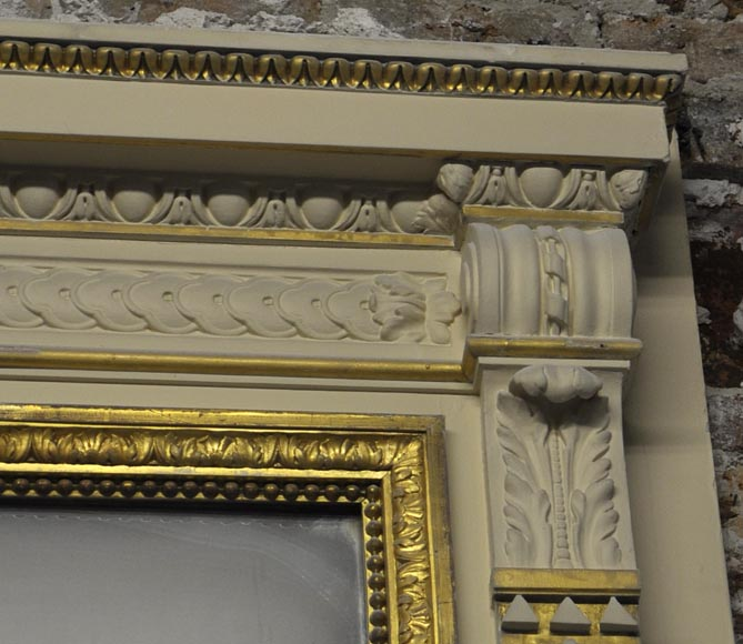 Large Louis XVI style fireplace in white Carrara marble with its cast iron insert and its overmantel mirror-15