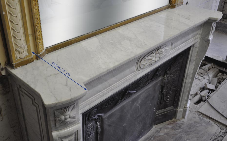 Large Louis XVI style fireplace in white Carrara marble with its cast iron insert and its overmantel mirror-16