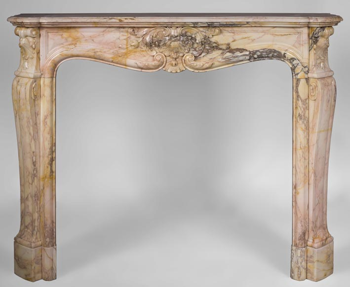 Antique three shells Louis XV style fireplace in Breccia Nuvolata marble-0
