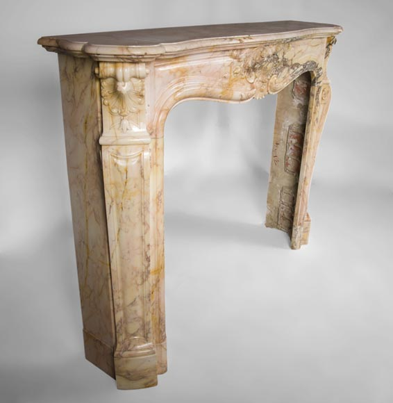 Antique three shells Louis XV style fireplace in Breccia Nuvolata marble-3
