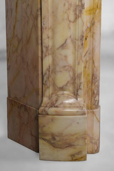 Antique three shells Louis XV style fireplace in Breccia Nuvolata marble-5