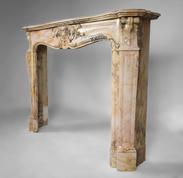 Antique three shells Louis XV style fireplace in Breccia Nuvolata marble-6