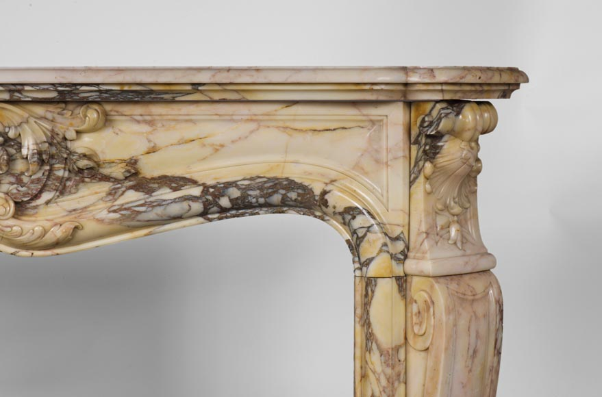 Antique three shells Louis XV style fireplace in Breccia Nuvolata marble-7