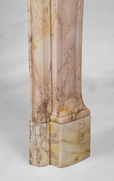 Antique three shells Louis XV style fireplace in Breccia Nuvolata marble-8