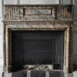 Important antique Louis XIV style fireplace in Red from the North marble with acroterion