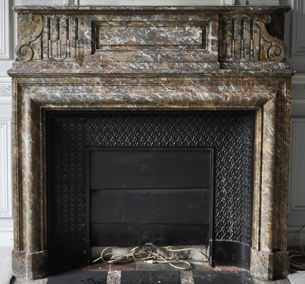 Important antique Louis XIV style fireplace in Red from the North marble with acroterion-0