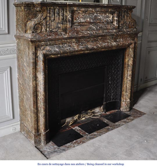 Important antique Louis XIV style fireplace in Red from the North marble with acroterion-2