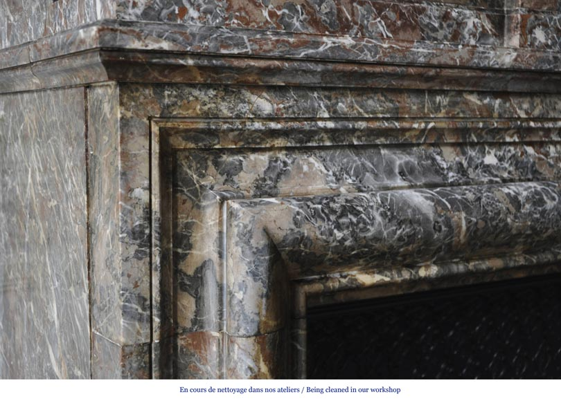 Important antique Louis XIV style fireplace in Red from the North marble with acroterion-3