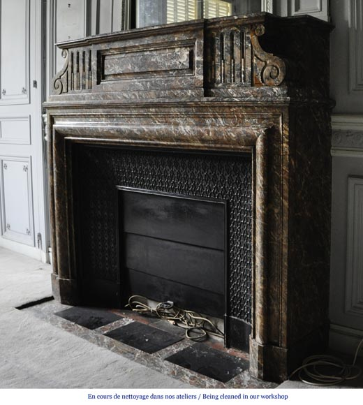 Important antique Louis XIV style fireplace in Red from the North marble with acroterion-5