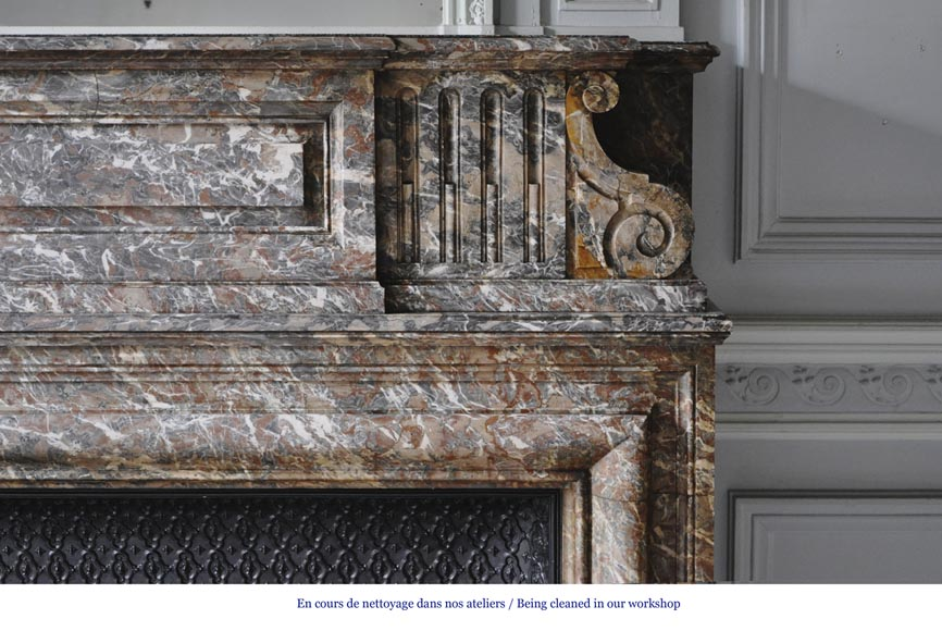 Important antique Louis XIV style fireplace in Red from the North marble with acroterion-6