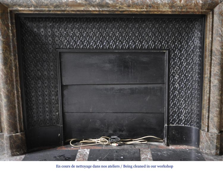 Important antique Louis XIV style fireplace in Red from the North marble with acroterion-7