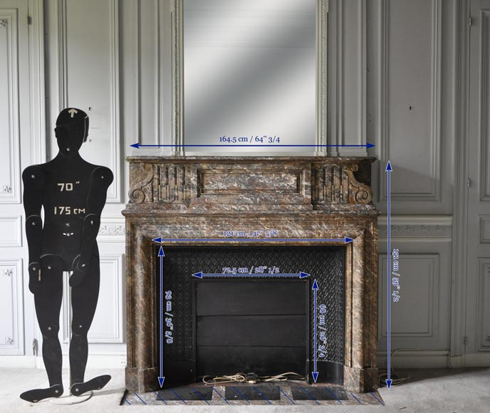 Important antique Louis XIV style fireplace in Red from the North marble with acroterion-8